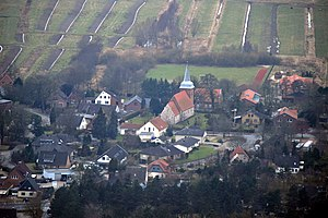 Midlum, Lower Saxony - Aerial photo with St. Pancras Church