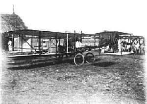 Chennai International Airport - Giacomo D'Angelis and his biplane in 1910, the first flight ever in Asia