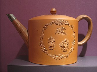 Staffordshire Potteries - Original reddish-brown Stafford Pottery coffee pot, now on display at the DAR Museum, Washington, D.C.