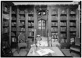 DETAIL NORTH LIBRARY SHELVES, EAST WALL - Lyndhurst, Main House, 635 South Broadway, Tarrytown, Westchester County, NY HABS NY,60-TARY,1A-42.tif