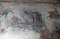 Dahuting Tomb mural, cavalry and chariots, Eastern Han.jpg