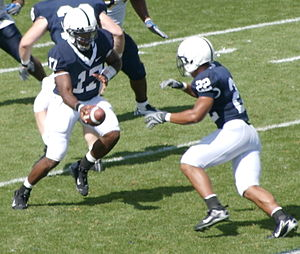 2009 Big Ten Conference football season - Daryll Clark handing off to Evan Royster in 2007