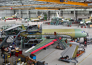 Dassault Falcon 7X - Dassault Falcon 7X assembly line at Bordeaux-Merignac