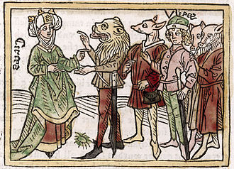 Giovanni Boccaccio - Circes: illustration of one of the women featured the 1374 biographies of 106 famous women, De Claris Mulieribus, by Boccaccio – from a German translation of 1541