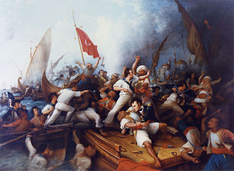 Military history of the United States - Stephen Decatur boarding the Tripolitan gunboat, 3 August 1804, the First Barbary War