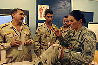 Defense.gov News Photo 101005-A-5370B-002 - U.S. Army Spc. Sara Lenzo right a combat medic with Charlie Company 225th Brigade Support Battalion 2nd Advise and Assist Brigade 25th.jpg
