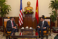 Defense.gov News Photo 120604-D-BW835-977 - Secretary of Defense Leon E. Panetta meets with Vietnamese Minister of Foreign Affairs Pham Binh Minh in Hanoi Vietnam on June 4 2012. Panetta is.jpg