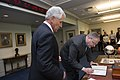 Defense Secretary Chuck Hagel, left, swears in new Deputy Defense Secretary Bob Work at the Pentagon, May 5, 2014 140501-M-EV637-016b.jpg