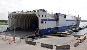 Delta Mariner rear quarter view docked at Cape Canaveral (08PD-3496).jpg