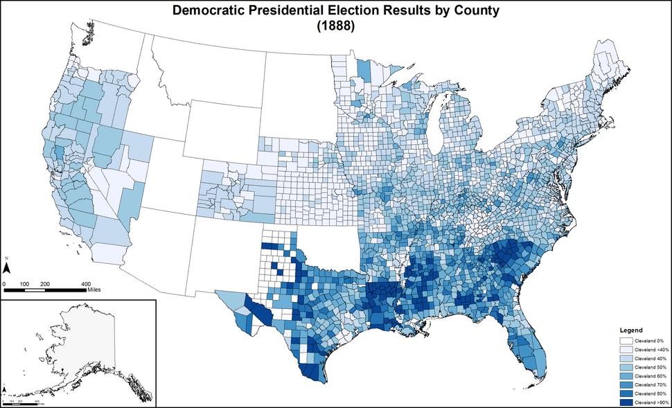 DemocraticPresidentialCounty1888Colorbrewer