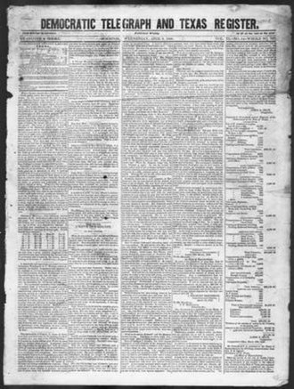 Telegraph and Texas Register - Scan of the front page of the newspaper from April 8, 1846 showing its new name, Democratic Telegraph and Texas Register