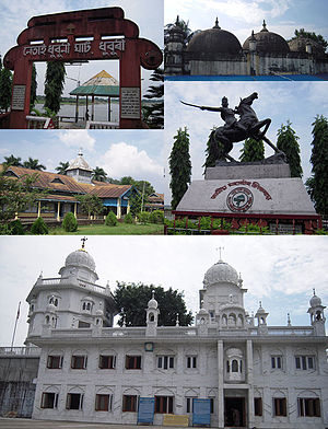 Dhubri district - (Clockwise from top) Netai Dhubunir Ghat, Historical Panbari Mosque, Chilarai statue at Dhubri town, Sri Guru Tegh Bahadur Sahib Gurdwara, and Bhola Nath College