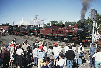 Main Line railway, Queensland - QR heritage locos of the (left to right) PB15, BB18¼ and C17 classes at Grandchester for the 125th anniversary of QR, July 1990