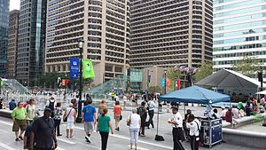 Dilworth Park - Dilworth Park at its opening on September 4, 2014. Claes Oldenburg's sculpture Clothespin can be seen across the street.