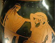 Ο Διόνυσος μάχεται με γίγαντα κατά την διάρκεια της Γιγαντομαχίας.