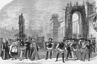 Dom Sébastien - Act 3 in the original production, as the Grand Inquisitor orders the arrest of Dom Sébastien (engraving from L'Illustration)