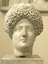 Bust of Domitian's wife, Domitia Longina. Note the peculiar hairstyle, typical of the Flavian period.