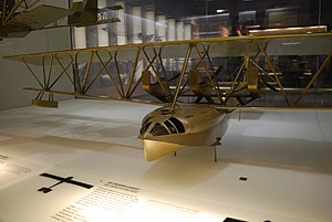 "Warren truss - Museum model of the 1914 Zeppelin-Lindau Rs.I flying boat, with spanwise Warren-truss ""inverted-pyramid"" interplane struts"