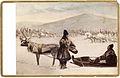 Dräktdockor. En kvinna och en man i samiska dräkter vid ren och ackja - Nordiska Museet - NMA.0056886.jpg