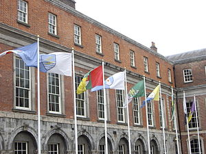 Gaelic games county colours - Flags with counties' colours and coats of arms flying in the Upper Yard at Dublin Castle