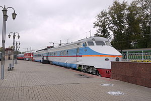 ER200 - ER200-105 at the Moscow Railway Museum, Rizhsky Rail Terminal