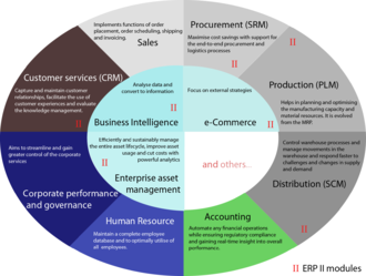 Enterprise resource planning - Diagram showing some typical ERP modules