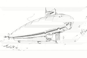 American submarine NR-1 - Early design sketch of NR-1