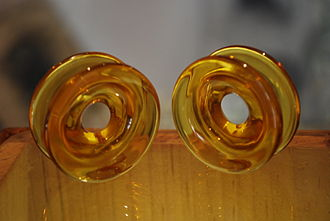 Plug (jewellery) - Pre-Hispanic earspools crafted from amber, at the Museum of Amber in San Cristobal de las Casas, Chiapas.