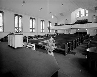 Martin Luther King Jr. National Historical Park - Interior of Ebenezer Baptist Church, view from behind the pulpit