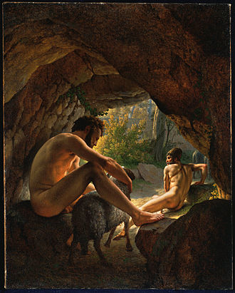 Christoffer Wilhelm Eckersberg - Ulysses Fleeing the Cave of Polyphemus, 1812, Princeton University Art Museum, painted while under the tutelage of Jacques-Louis David