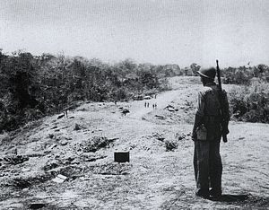 "Battle of Edson's Ridge - An American Marine stands near some of the fighting positions on Hill 123 on ""Edson's"" Ridge after the battle.  Edson's command post during the battle was located just to the right of where the Marine is standing."