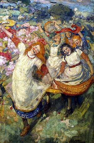 Edward Atkinson Hornel - The Dance of Spring (c.1891, improved)