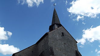 Anzême - The bell tower of the church in Anzême
