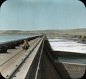 Water storage - Great Nile Dam, at first cataract, Egypt., 1908, Copyright, 1908, by Stereo-Travel Co. Brooklyn Museum Archives