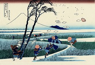Ejiri-juku - Ejiri in Suruga Province around 1830, as depicted by Hokusai in Thirty-six Views of Mount_Fuji
