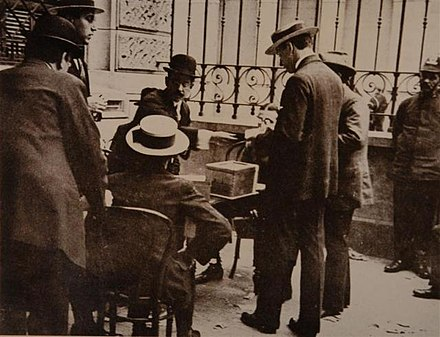 1916 Argentine Elections, the first in the country's history to feature guaranteed secret, universal, and mandatory male suffrage Elecciones de 1916, Argentina 01.jpg