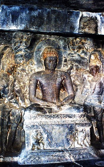 English: Seated Buddha at Ellora Caves, Mahara...