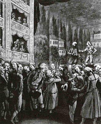 Singspiel - Wolfgang Amadeus Mozart (center) attending a performance of his Singspiel, Die Entführung aus dem Serail, in Berlin in 1789