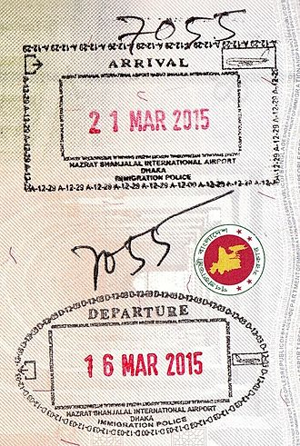 Passport stamp - Image: Entry and exit stamps of Bangladesh