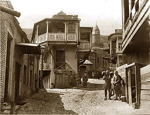 Religion in Georgia (country) - Botanical Street and Sunnite Mosque, Tbilisi. Middle of 1880
