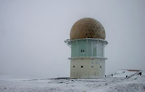 Serra da Estrela - Dome of an old radar station near the highest point of Serra da Estrela on a winter's day.
