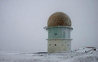 Serra da Estrela - Dome of an old radar station near the highest point of Serra da Estrela on a winter's day.