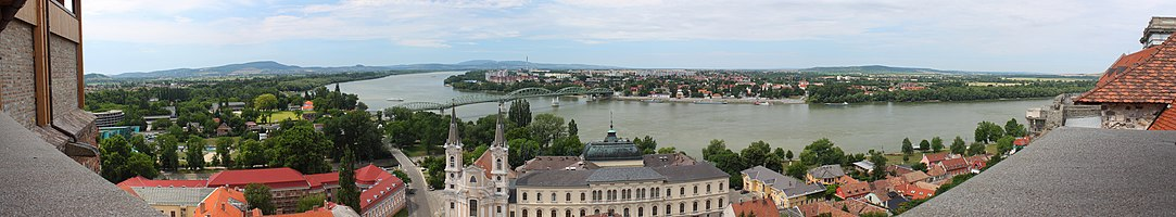 Panoramic view of the Danube with Esztergom (HU) and Sturovo (SK) from Esztergom Castle