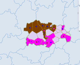 Ethnic townships of the People's Republic of China - Blue - miao. Brown- tujia. red - dong