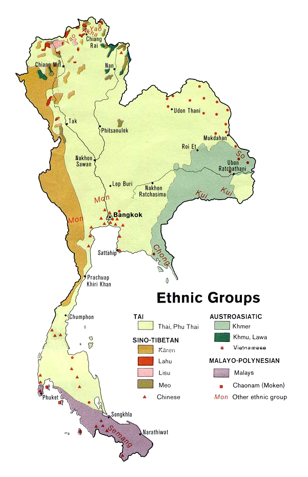 Ethnolinguistic groups of Thailand 1974