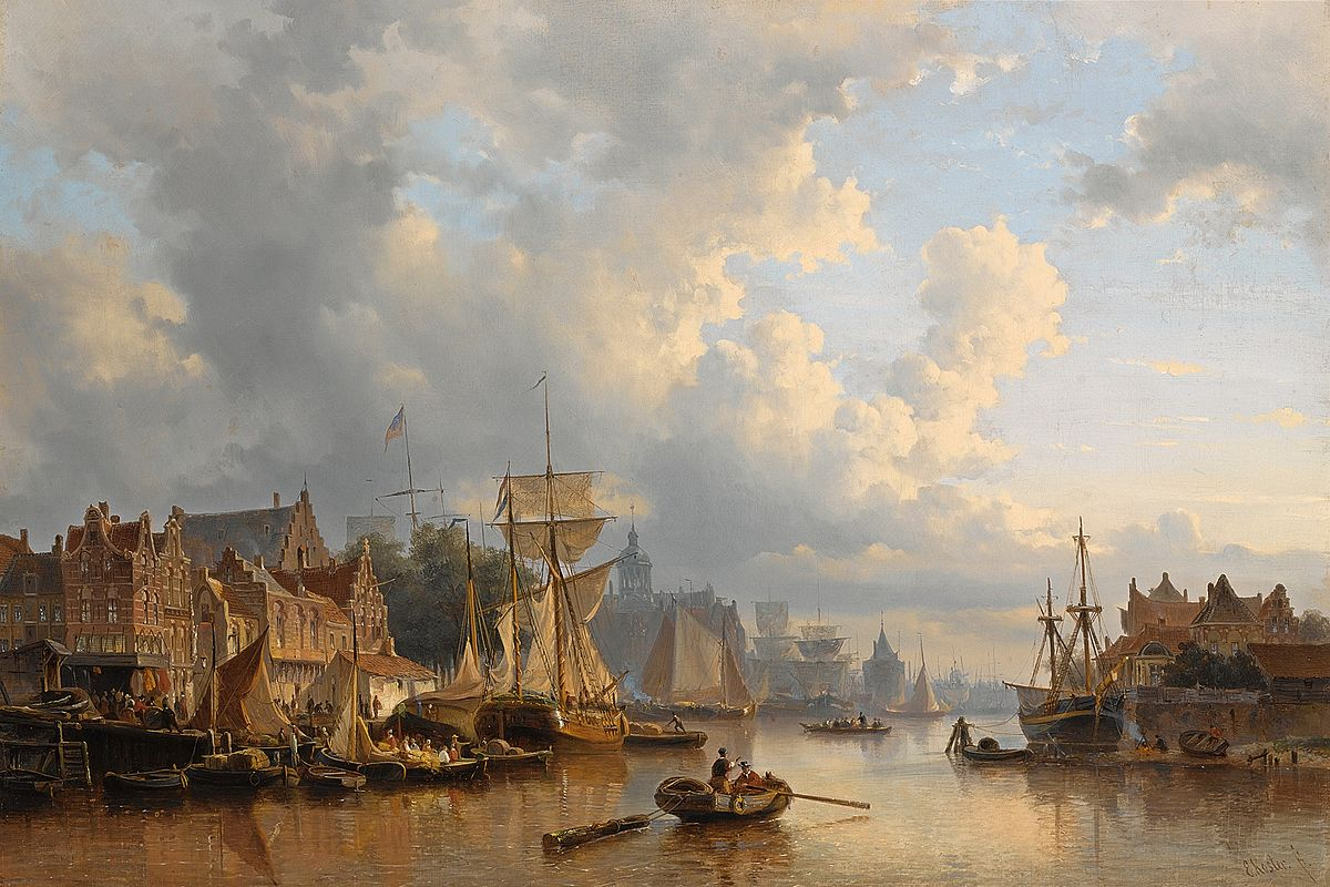 Shipping On The Ij, Amsterdam Painting by Everhardus