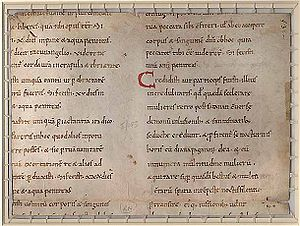 Canon law - Image of pages from the Decretum of Burchard of Worms, the 11th-century book of canon law.