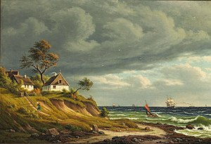 Frederik Christian Kiaerskou - Image: F. C. Kiaerskou Ved Fiskerlejet Sletten. Frisk Kuling (1882)