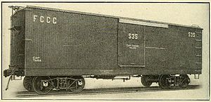 Ferrocarriles de Cuba - Boxcar used on Cuban Central Railway to transport sugar cane. ca 1913