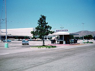 Fallbrook Center - East parking lot of Fallbrook Square, with a self-service post office in the foreground, 1978.